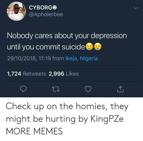 cyborg: CYBORG  @Apholerbee  Nobody cares about your depression  until you commit suicide  29/10/2018, 11:19 from lkeja, Nigeria  1,724 Retweets 2,996 Likes Check up on the homies, they might be hurting by KingPZe MORE MEMES