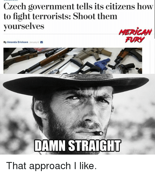 Memes, How To, and Government: Czech government tells its citizens how  to fight terrorists: Shoot them  yourselves  By Amanda Erickson  January6 M  DAMN STRAIGHT That approach I like.