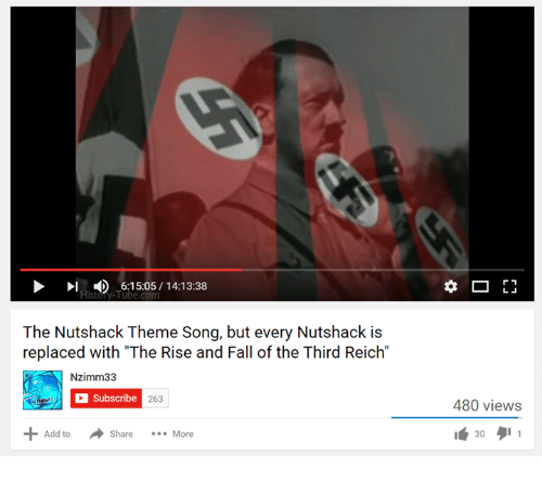 "Fall: D 6:15:05 14:13:38  The Nutshack Theme Song, but every Nutshack is  replaced with ""The Rise and Fall of the Third Reich""  Nzimm33  C Subscribe 263  Add to  Share More  r 1  480 views  30 1"