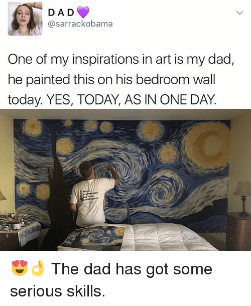 walls: D A D  asarrackobama  One of my inspirations in art is my dad,  he painted this on his bedroom wall  today. YES, TODAY, AS IN ONE DAY. 😍👌 The dad has got some serious skills.