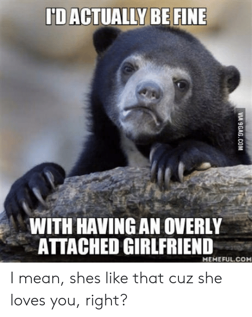 Mean, Girlfriend, and Attached Girlfriend: 'D ACTUALLY BE FINE  WITH HAVING AN OVERLY  ATTACHED GIRLFRIEND  MEMEFUL.CO I mean, shes like that cuz she loves you, right?