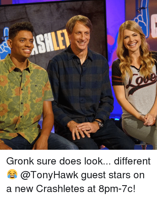 Gronked: D : Gronk sure does look... different 😂 @TonyHawk guest stars on a new Crashletes at 8pm-7c!