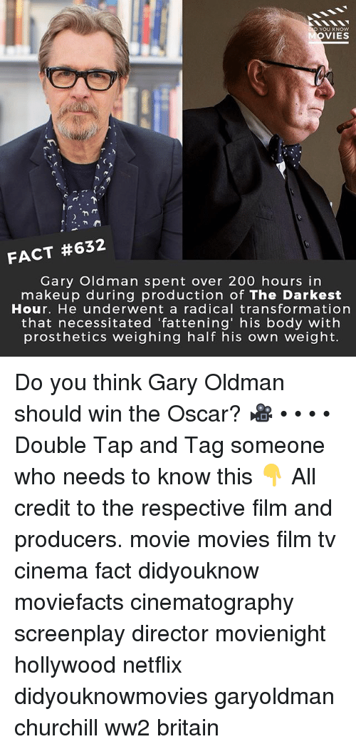 Bailey Jay, Makeup, and Memes: D YOU KNOW  VIES  FACT #632  Gary Oldman spent over 200 hours in  makeup during production of The Darkest  Hour. He underwent a radical transformation  that necessitated 'fattening' his body with  prosthetics weighing half his own weight. Do you think Gary Oldman should win the Oscar? 🎥 • • • • Double Tap and Tag someone who needs to know this 👇 All credit to the respective film and producers. movie movies film tv cinema fact didyouknow moviefacts cinematography screenplay director movienight hollywood netflix didyouknowmovies garyoldman churchill ww2 britain