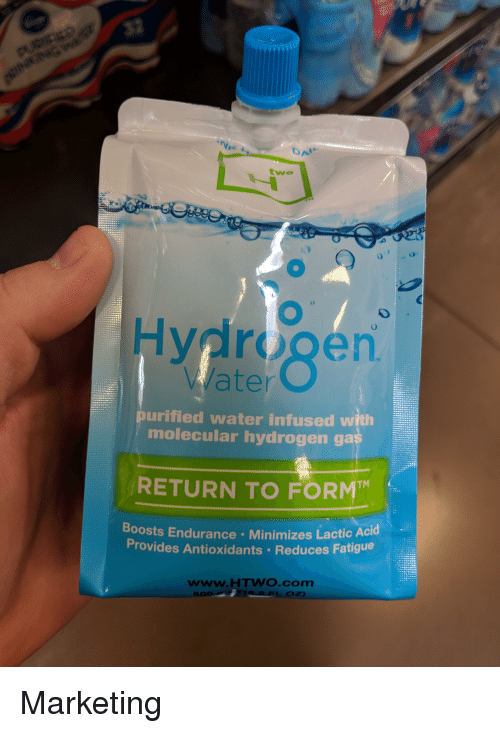 Funny, Water, and Com: DA  two  Hydrogen  0  rgen  TM  Water  purified water infused with  molecular hydrogen ga  RETURN TO FORM  Boosts En  durance Minimizes Lactic Acid  Provides Antioxidants Reduces Fatigue  www.HTWO.com