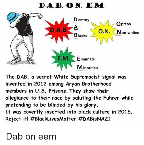 Saluting: DAB. O.N. E.MM.  Destroy  M Opress  All  O.N  on-whites  Blacks  M. Eliminate  Minorities  The DAB, a secret White Supremacist signal was  invented in 2012 among Aryan Brotherhood  members in U.S. Prisons. They show their  allegiance to their race by saluting the Fuhrer while  pretending to be blinded by his glory.  It was covertly inserted into black culture in 2016.  Reject it! H BlackLivesMatter Dab on eem