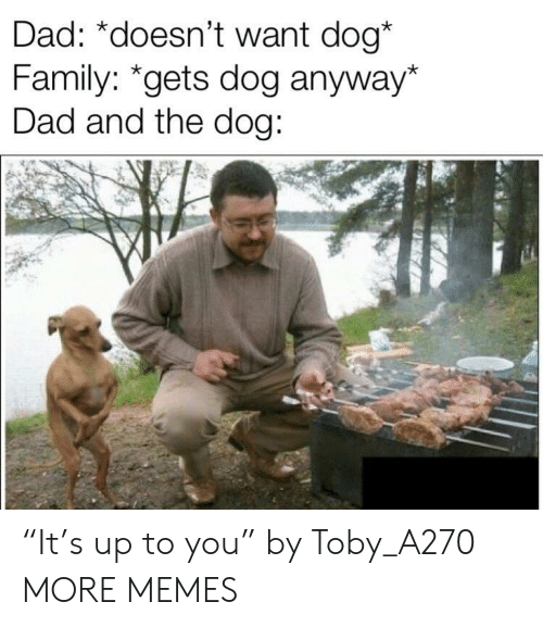"""toby: Dad: *doesn't want dog*  Family: """"gets dog anyway*  Dad and the dog: """"It's up to you"""" by Toby_A270 MORE MEMES"""
