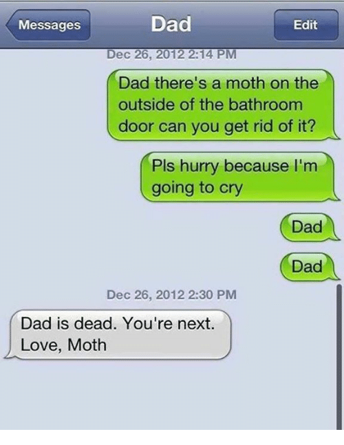 Dad, Love, and Memes: Dad  Edit  Messages  Dec 26, 2012 2:14 PM  Dad there's a moth on the  outside of the bathroom  door can you get rid of it?  Pls hurry because I'm  going to cry  Dad  Dad  Dec 26, 2012 2:30 PM  Dad is dead. You're next.  Love, Moth