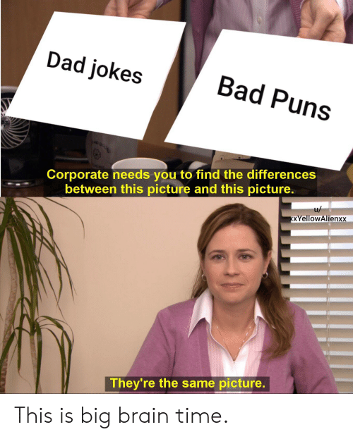Bad Puns: Dad jokes  Bad Puns  Corporate needs you to find the differences  between this picture and this picture.  u/  KXYellowAlienxx  They're the same picture. This is big brain time.
