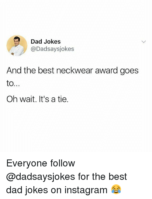 Dad, Instagram, and Memes: Dad Jokes  @Dadsaysjokes  And the best neckwear award goes  Oh wait. It's a tie. Everyone follow @dadsaysjokes for the best dad jokes on instagram 😂