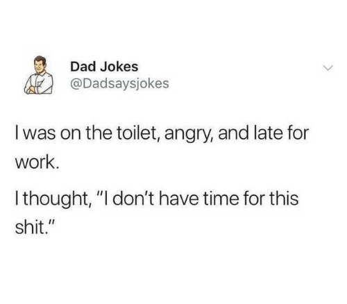 """Late For Work: Dad Jokes  @Dadsaysjokes  I was on the toilet, angry, and late for  work.  Ithought, """"I don't have time for this  shit."""""""