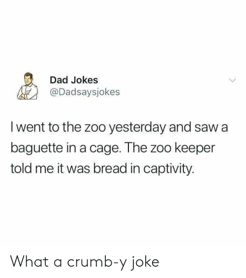 Crumb: Dad Jokes  @Dadsaysjokes  I went to the zoo yesterday and saw a  baguette in a cage. The zoo keeper  told me it was bread in captivity. What a crumb-y joke