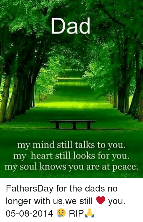 Dad, Memes, and Heart: Dad  my mind still talks to you  my heart still looks for you.  my soul knows you are at peace. FathersDay for the dads no longer with us,we still ❤️ you. 05-08-2014 😢 RIP🙏