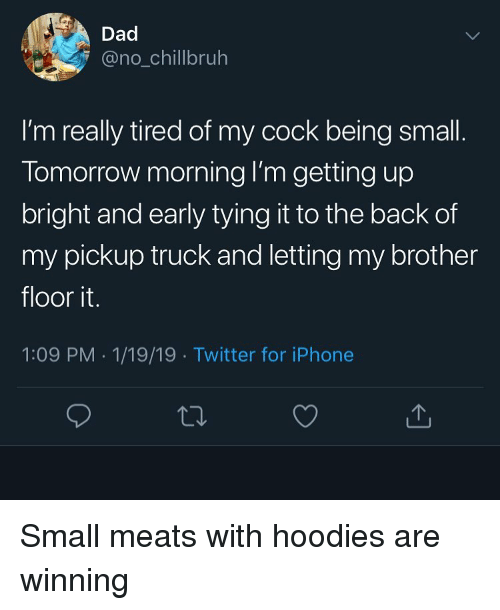 meats: Dad  @no_chillbruh  I'm really tired of my cock being small  Tomorrow morning I'm getting up  bright and early tying it to the back of  my pickup truck and letting my brother  floor it.  1:09 PM 1/19/19 Twitter for iPhone Small meats with hoodies are winning