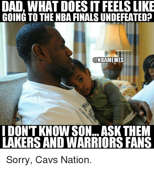 NBA: DAD, WHAT DOESITFEELS LIKE  GOING TO THE NBA FINALS UNDEFEATEDp  @NBAMEMES  IDONTKNOWSON... ASK THEM  LAKERS ANDWARRIORS FANS Sorry, Cavs Nation.
