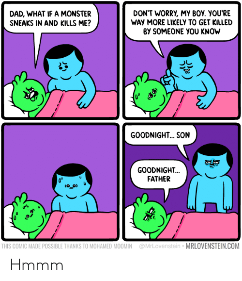 mohamed: DAD, WHAT IF A MONSTER  SNEAKS IN AND KILLS ME?  DON'T WORRY, My BOY. YOU'RE  WAY MORE LIKELY TO GET KILLED  BY SOMEONE YOU KNOW  GOODNIGHT... .SON  GOODNIGHT..  FATHER  uvv  THIS COMIC MADE POSSIBLE THANKS TO MOHAMED MOOMIN @MrLovenstein MRLOVENSTEIN.COM Hmmm