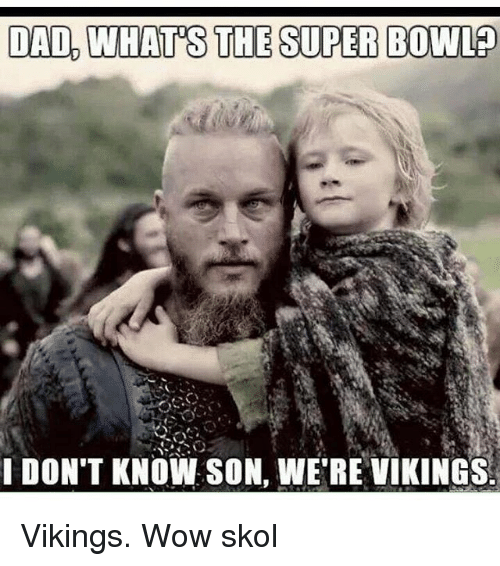 Dad, Green Bay Packers, and Super Bowl: DAD WHATS THE SUPER BOWL  I DON'T KNOW SON, WE RE VIKINGS. Vikings. Wow skol