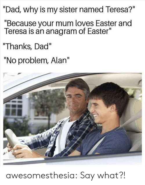 "Dad, Easter, and Tumblr: ""Dad, why is my sister named Teresa?""  ""Because your mum loves Easter and  Teresa is an anagram of Easter""  Thanks, Dad""  ""No problem, Alan"" awesomesthesia:  Say what?!"
