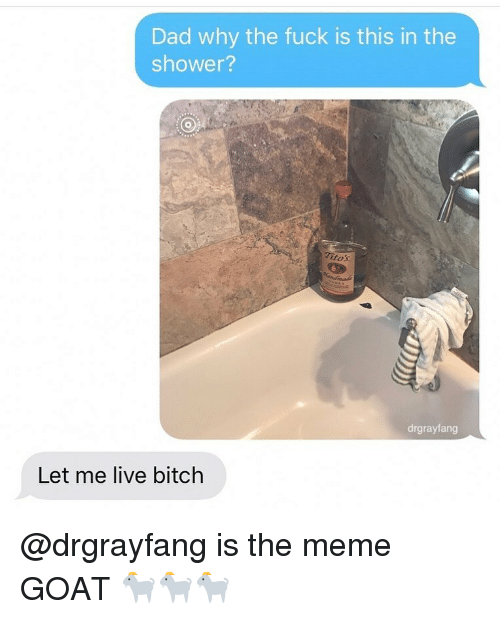 tos: Dad why the fuck is this in the  shower?  tos  drgrayfang  Let me live bitch @drgrayfang is the meme GOAT 🐐🐐🐐