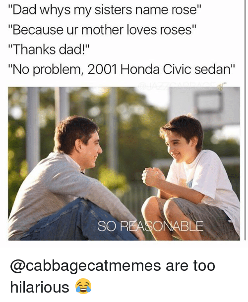 """Honda: """"Dad whys my sisters name rose""""  """"Because ur mother loves roses""""  """"Thanks dad!""""  """"No problem, 2001 Honda Civic sedan""""  SO REASONABLE @cabbagecatmemes are too hilarious 😂"""