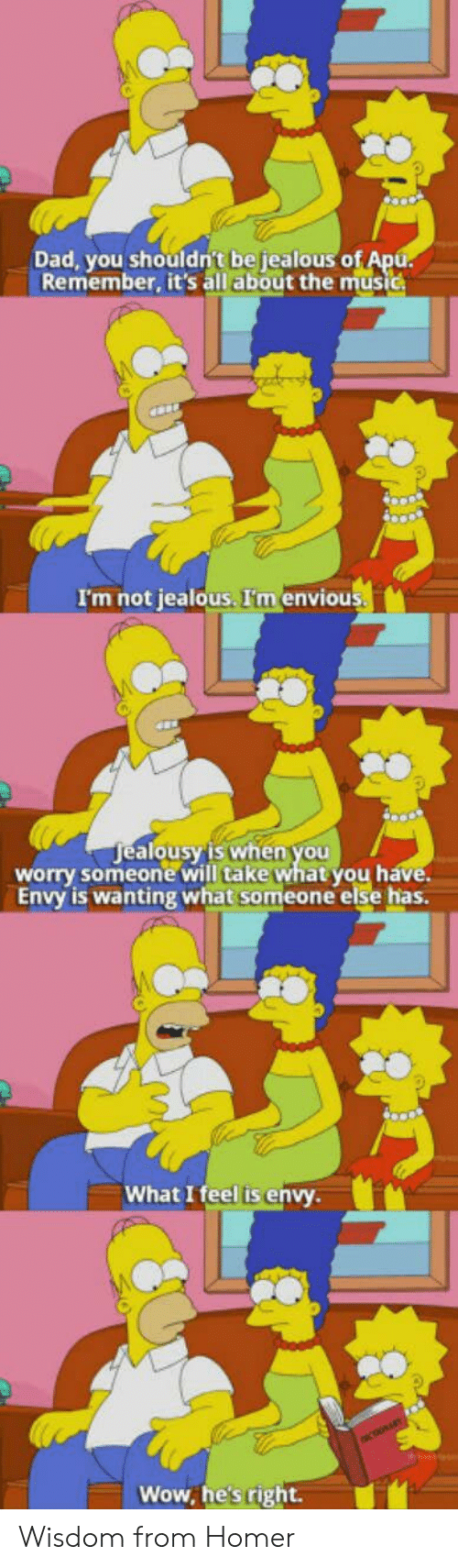 envious: Dad, you shouldn't be jealous o  Remember, it's all about the music  I'm not jealous. I'm envious  ealousy'is when you  alo  worry someone will take what you h  Envy is wanting what someone else has.  What I feel is envy  Wow, he's right. Wisdom from Homer