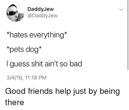 Bad, Friends, and Shit: DaddyJew  @DaddyJew  *hates everything*  *pets dog*  I guess shit ain't so bad  3/4/18, 11:18 PM <p>Good friends help just by being there</p>