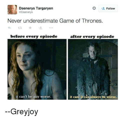 Memes, 🤖, and Game Of: Daenerys Targaryen  Follow  @Daenenys  Never underestimate Game of Thrones.  before every episode  after every episode  it can. it can always be worse.  it can't be any worse. --Greyjoy