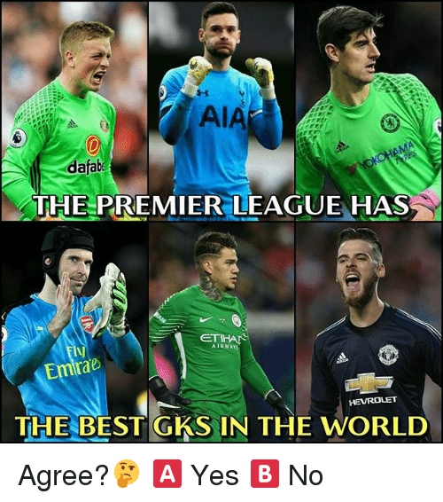 Memes, Premier League, and Best: dafab  THE PREMIER LEAGUE HAS  AIRWAY  Emrae  THE BEST GKS IN THE WORLD Agree?🤔 🅰️ Yes 🅱️ No