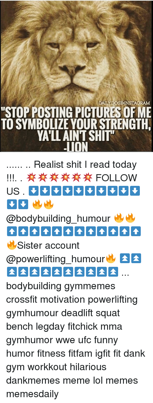 "Dank, Funny, and Gym: DAILY DOSE INSTAGRAM  ""STOPPOSTING PICTURES OF ME  TOSYMBOLIZE YOURSTRENGTH.  YATLLAINTSHITT  LION ...... .. Realist shit I read today !!!. . 💥💥💥💥💥💥 FOLLOW US . ⬇️⬇️⬇️⬇️⬇️⬇️⬇️⬇️⬇️⬇️⬇️⬇️ 🔥🔥@bodybuilding_humour 🔥🔥 ⬆️⬆️⬆️⬆️⬆️⬆️⬆️⬆️⬆️⬆️⬆️⬆️ 🔥Sister account @powerlifting_humour🔥 ⏫⏫⏫⏫⏫⏫⏫⏫⏫⏫⏫⏫ ... bodybuilding gymmemes crossfit motivation powerlifting gymhumour deadlift squat bench legday fitchick mma gymhumor wwe ufc funny humor fitness fitfam igfit fit dank gym workkout hilarious dankmemes meme lol memes memesdaily"