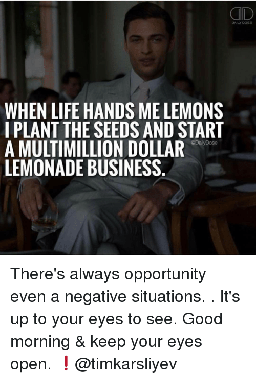 Memes, Lemonade, and 🤖: DAILY DOSE  WHEN LIFE HANDS ME LEMONS  I PLANT THE SEEDS AND START  @DailyDose  A MULTIMILLION DOLLAR  LEMONADE BUSINESS There's always opportunity even a negative situations. . It's up to your eyes to see. Good morning & keep your eyes open. ❗️@timkarsliyev