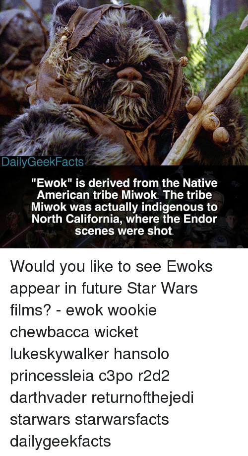 "Chewbacca, Facts, and Future: Daily Geek Facts  ""Ewok"" is derived from the Native  American tribe Miwok. The tribe  Miwok was actually indigenous to  North California, where the Endor  scenes were shot. Would you like to see Ewoks appear in future Star Wars films? - ewok wookie chewbacca wicket lukeskywalker hansolo princessleia c3po r2d2 darthvader returnofthejedi starwars starwarsfacts dailygeekfacts"