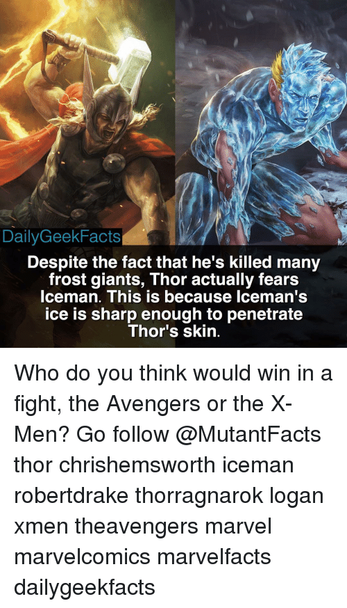 frosting: Daily GeekFacts  Despite the fact that he's killed many  frost giants, Thor actually fears  Iceman. This is because Iceman's  ice is sharp enough to penetrate  Thor's skin Who do you think would win in a fight, the Avengers or the X-Men? Go follow @MutantFacts thor chrishemsworth iceman robertdrake thorragnarok logan xmen theavengers marvel marvelcomics marvelfacts dailygeekfacts