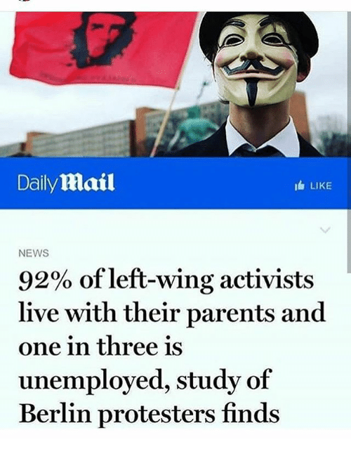 Daily Mail LIKE NEWS 92% of Left-Wing Activists Live With ...
