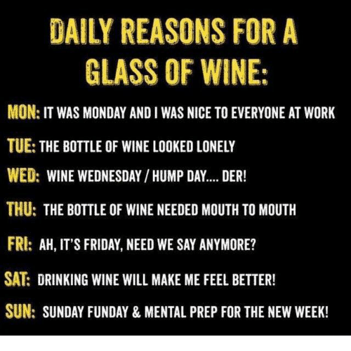 Wine Wednesday: DAILY REASONS FOR A  GLASS OF WINE:  MON: IT WAS MONDAY AND I WAS NICE TO EVERYONE AT WORK  TUE: THE BOTTLE OF WINE LOOKED LONELY  WED: WINE WEDNESDAY /HUMP DAY.... DER!  THU: THE BOTTLE OF WINE NEEDED MOUTH TO MOUTH  FRI: AH, IT'S FRIDAY, NEED WE SAY ANYMORE?  SAT DRINKING WINE WILL MAKE ME FEEL BETTER!  SUN: SUNDAY FUNDAY & MENTAL PREP FOR THE NEW WEEK!