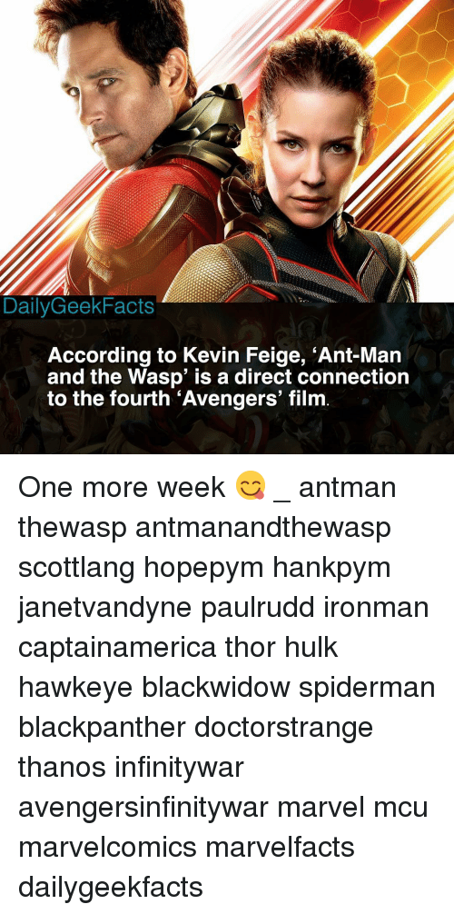 the wasp: DailyGeekFacts  According to Kevin Feige, 'Ant-Mar  and the Wasp' is a direct connection  to the fourth 'Avengers' film One more week 😋 _ antman thewasp antmanandthewasp scottlang hopepym hankpym janetvandyne paulrudd ironman captainamerica thor hulk hawkeye blackwidow spiderman blackpanther doctorstrange thanos infinitywar avengersinfinitywar marvel mcu marvelcomics marvelfacts dailygeekfacts
