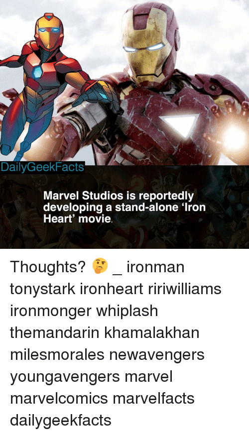 whiplash: DailyGeekFacts  Marvel Studios is reportedly  developing a stand-alone 'Iron  Heart movie Thoughts? 🤔 _ ironman tonystark ironheart ririwilliams ironmonger whiplash themandarin khamalakhan milesmorales newavengers youngavengers marvel marvelcomics marvelfacts dailygeekfacts