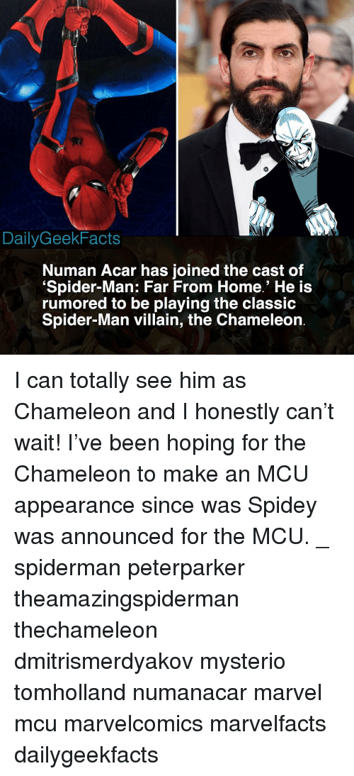 Memes, Spider, and SpiderMan: DailyGeekFacts  Numan Acar has joined the cast of  Spider-Man: Far From Home.' He is  rumored to be playing the clasSic  Spider-Man villain, the Chameleon I can totally see him as Chameleon and I honestly can't wait! I've been hoping for the Chameleon to make an MCU appearance since was Spidey was announced for the MCU. _ spiderman peterparker theamazingspiderman thechameleon dmitrismerdyakov mysterio tomholland numanacar marvel mcu marvelcomics marvelfacts dailygeekfacts