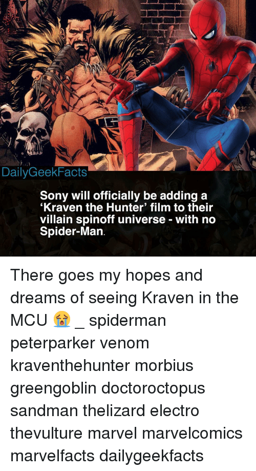 Memes, Sandman, and Sony: DailyGeekFacts  Sony will officially be adding a  Kraven the Hunter' film to their  villain spinoff universe - with no  Spider-Man There goes my hopes and dreams of seeing Kraven in the MCU 😭 _ spiderman peterparker venom kraventhehunter morbius greengoblin doctoroctopus sandman thelizard electro thevulture marvel marvelcomics marvelfacts dailygeekfacts
