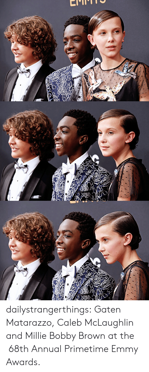 emmy awards: dailystrangerthings:  Gaten Matarazzo, Caleb McLaughlin and Millie Bobby Brown at the  68th Annual Primetime Emmy Awards.