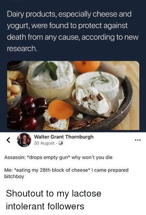 intolerant: Dairy products, especially cheese and  yogurt, were found to protect against  death from any cause, according to new  research  Walter Grant Thornburgh  30 August G  Assassin: *drops empty gun* why won't you die  Me: *eating my 28th block of cheese*I came prepared  bitchboy Shoutout to my lactose intolerant followers