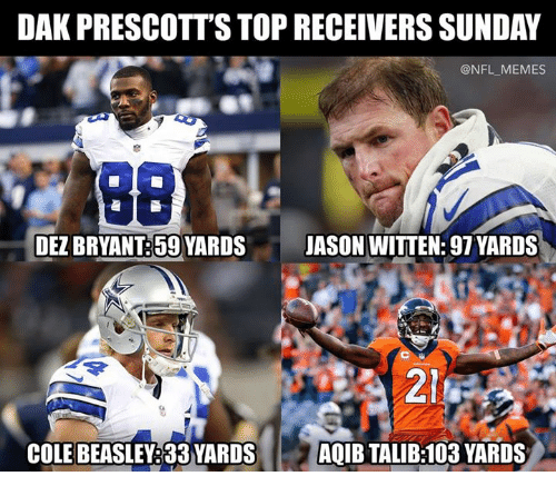 talib: DAK PRESCOTT'S TOP RECEIVERS SUNDAY  @NFL_MEMES  DEZ BRYANT:59 YARDSJASON WITTEN: 97 YARDS  214  COLE BEASLEY:33 YARDSAQIB TALIB:103 YARDS
