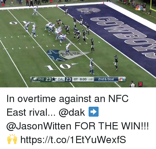 nfc east: DAL  OT 8:00 :12  2nd & Goal  2 In overtime against an NFC East rival...  @dak ➡️ @JasonWitten FOR THE WIN!!! 🙌 https://t.co/1EtYuWexfS