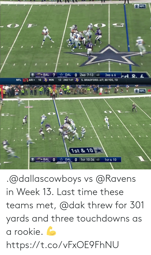 Rookie: .@dallascowboys vs @Ravens in Week 13.  Last time these teams met, @dak threw for 301 yards and three touchdowns as a rookie. 💪 https://t.co/vFxOE9FhNU