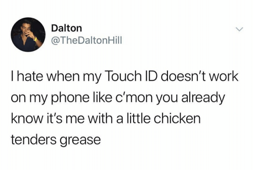 Phone, Work, and Chicken: Dalton  @TheDaltonHill  I hate when my Touch ID doesn't work  on my phone like c'mon you already  know it's me with a little chicken  tenders grease
