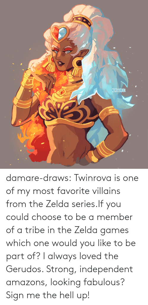 choose: damare-draws:    Twinrova is one of my most favorite villains from the Zelda series.If you could choose to be a member of a tribe in the Zelda games which one would you like to be part of? I always loved the Gerudos. Strong, independent amazons, looking fabulous? Sign me the hell up!