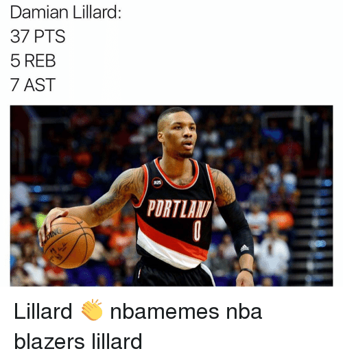 Basketball, Nba, and Sports: Damian Lillard.  37 PTS  5 REB  7 AST  JK25 Lillard 👏 nbamemes nba blazers lillard