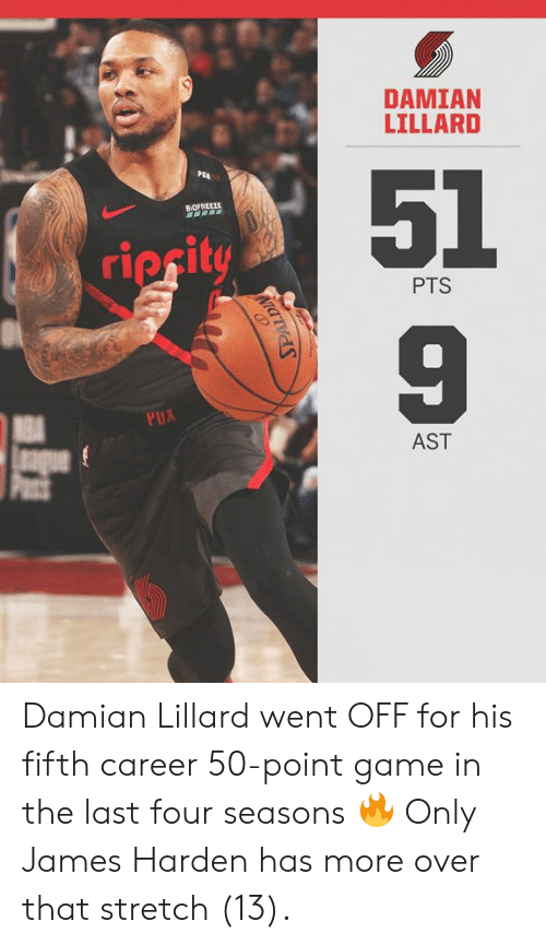 Damian Lillard: DAMIAN  LILLARD  51  9  PGA  BVOFR  ripcit  PTS  AST Damian Lillard went OFF for his fifth career 50-point game in the last four seasons 🔥  Only James Harden has more over that stretch (13).