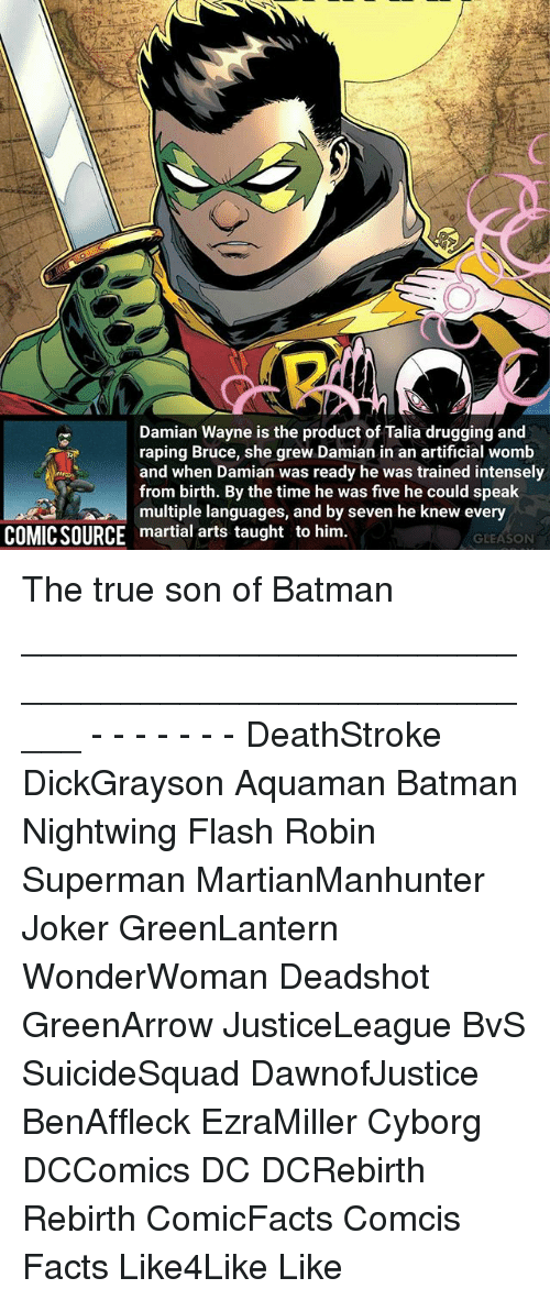 Memes, 🤖, and Flash: Damian Wayne is the product of Talia drugging and  raping Bruce, she grew Damian in an artificial womb  and when Damian was ready he was trained intensely  from birth. By the time he was five he could speak  multiple languages, and by seven he knew every  COMICSOURCE martial arts taught to him  GLEASON The true son of Batman _____________________________________________________ - - - - - - - DeathStroke DickGrayson Aquaman Batman Nightwing Flash Robin Superman MartianManhunter Joker GreenLantern WonderWoman Deadshot GreenArrow JusticeLeague BvS SuicideSquad DawnofJustice BenAffleck EzraMiller Cyborg DCComics DC DCRebirth Rebirth ComicFacts Comcis Facts Like4Like Like