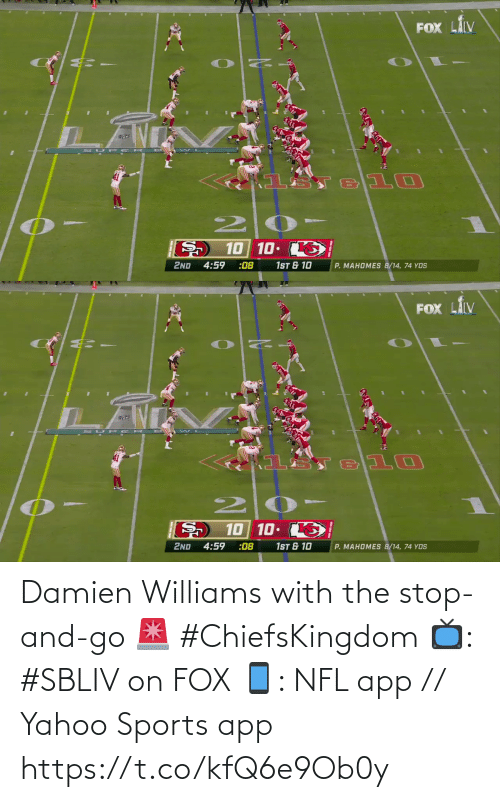 fox: Damien Williams with the stop-and-go 🚨 #ChiefsKingdom  📺: #SBLIV on FOX 📱: NFL app // Yahoo Sports app https://t.co/kfQ6e9Ob0y