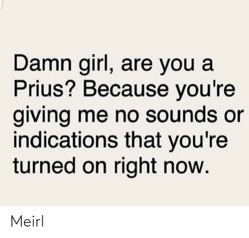 Damn Girl: Damn girl, are you a  Prius? Because you're  giving me no sounds or  indications that you're  turned on right now. Meirl