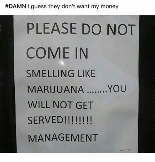 Memes, Money, and Guess:  #DAMN I guess they don't want my money  PLEASE DO NOT  COME IN  SMELLING LIKE  MARIJUANA  ........YOU  WILL NOT GET  SERVED!  MANAGEMENT